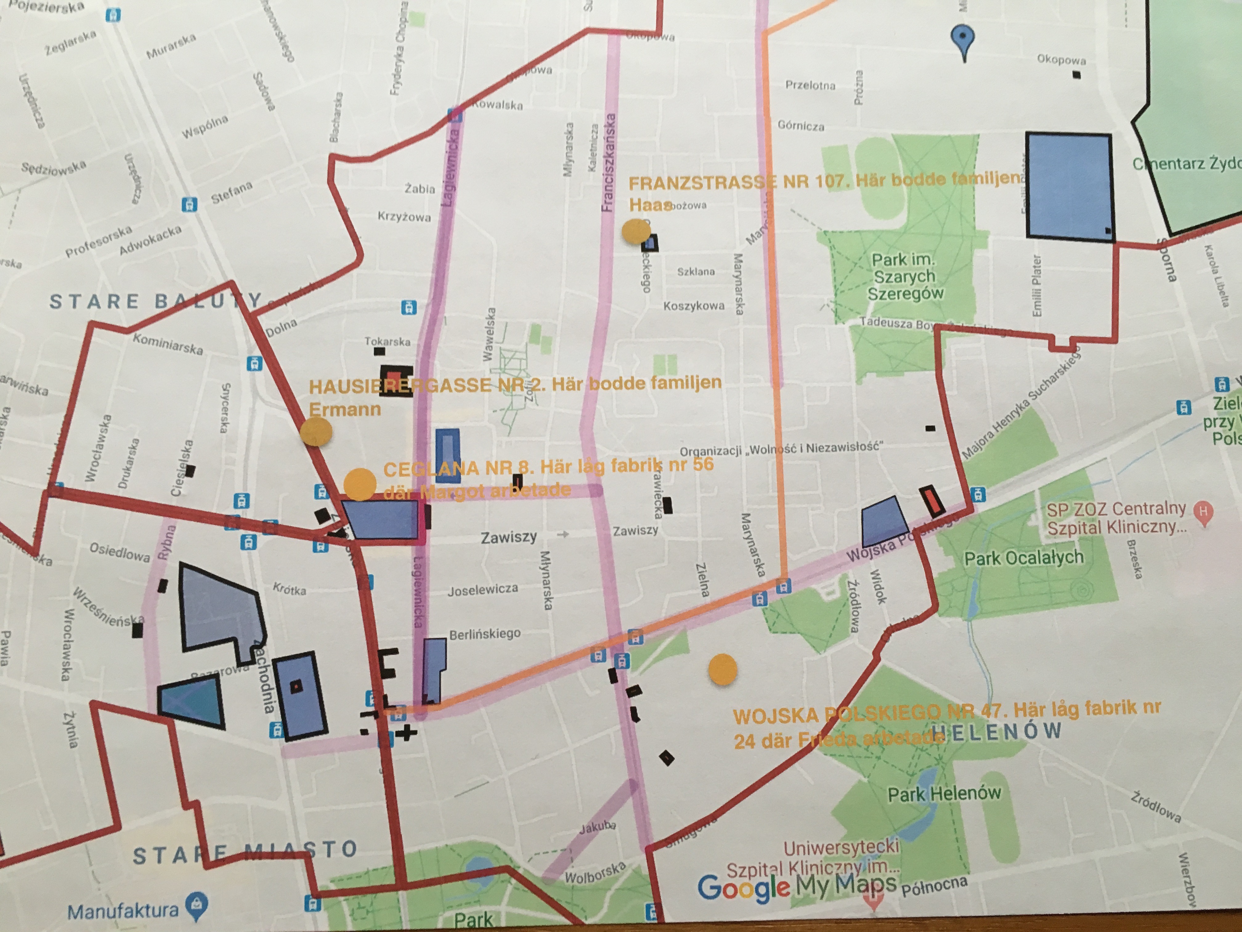 Karta med arbetsplatser och boende